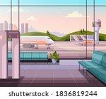 airport empty waiting room hall ... | Shutterstock .eps vector #1836819244