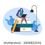 woman girl student character... | Shutterstock .eps vector #1836823141