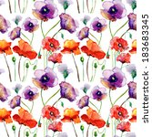 seamless pattern with poppy... | Shutterstock . vector #183683345