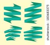 set of retro turquoise ribbons... | Shutterstock .eps vector #183683375