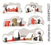 snowy rooftops of houses in... | Shutterstock .eps vector #1836899227
