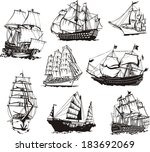 black and white sketches of... | Shutterstock .eps vector #183692069