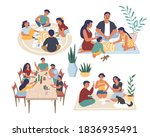 happy people playing board... | Shutterstock .eps vector #1836935491