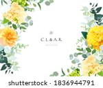 yellow hydrangea  mustard rose  ... | Shutterstock .eps vector #1836944791