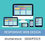 Responsive websites design for computers tablets and mobile phones concept icon vector illustration