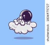 cute astronaut lay on cloud...   Shutterstock .eps vector #1836975727