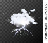 white detailed realistic rainy... | Shutterstock .eps vector #1836976177