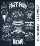 fast food chalkboard design set | Shutterstock .eps vector #183698507