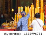 Asian Thai People Worship The...