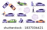 car accidents set isolated on... | Shutterstock .eps vector #1837036621