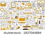 social media management doodle...   Shutterstock .eps vector #1837064884