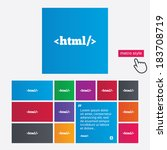 html sign icon. markup language ... | Shutterstock .eps vector #183708719