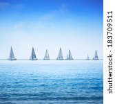 sailing boat yacht or sailboat... | Shutterstock . vector #183709511