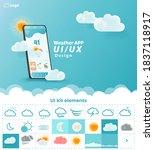 weather app ui ux kit elements  ...