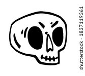 hand drawn cartoon skull. funny ... | Shutterstock .eps vector #1837119361