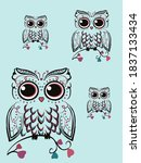 vector owl with work of... | Shutterstock .eps vector #1837133434
