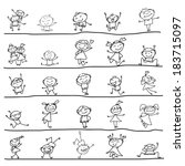 hand drawing cartoon character... | Shutterstock .eps vector #183715097