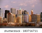 the skyline of lower manhattan... | Shutterstock . vector #183716711