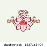 lotus mehndi flower pattern for ... | Shutterstock .eps vector #1837169404