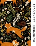 fox and floral seamless pattern | Shutterstock . vector #1837177291