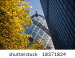 Modern London skyline in the financial district - stock photo
