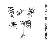 doodle spiderweb and spider set.... | Shutterstock .eps vector #1837182784