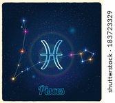 vector constellation pisces... | Shutterstock .eps vector #183723329