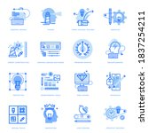 set of flat line icons of...
