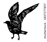 black seagull  hand drawn... | Shutterstock .eps vector #1837277857
