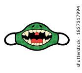 Funny Monster Mouth With Fangs...