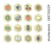 thin line icons for fruits....
