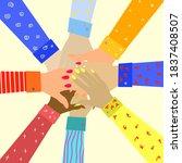 hands of diverse group of...   Shutterstock .eps vector #1837408507