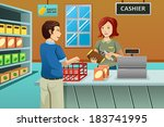 adult,basket,buyer,buying,cartoon,cashier,checkout,clerk,clip-art,clipart,consumer,consumerism,counter,customer,drawing