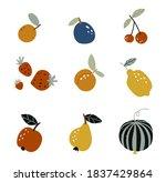 set of garden fruits in a flat... | Shutterstock .eps vector #1837429864