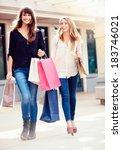 beautiful girls with shopping... | Shutterstock . vector #183746021