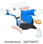 Stock vector running white rabbit with pocket watch 183746957