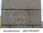 The date of the Battle of Trafalgar carved into stone reading 21 October 1805