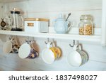 Kitchen wooden shelf with tea...