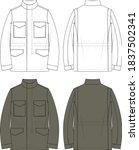 men's m65 field jacket military | Shutterstock .eps vector #1837502341