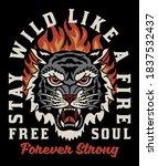 tiger head in flames... | Shutterstock .eps vector #1837532437
