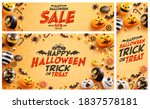 set of halloween sale promotion ... | Shutterstock .eps vector #1837578181
