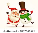 santa claus and cheerful... | Shutterstock .eps vector #1837641571