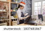 Waitress In Santa Hat And Apron ...