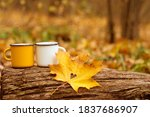Mugs And Leaf With A Heart In...