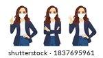 sad beautiful business casual... | Shutterstock .eps vector #1837695961