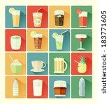 Flat Icons Drink Set