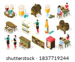 beer pub isometric set with... | Shutterstock .eps vector #1837719244
