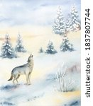 Watercolor Christmas Card With  ...