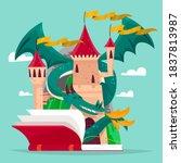 fairytale castle cartoon vector ... | Shutterstock .eps vector #1837813987