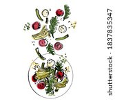 salad toss. cherry tomatoes ... | Shutterstock .eps vector #1837835347